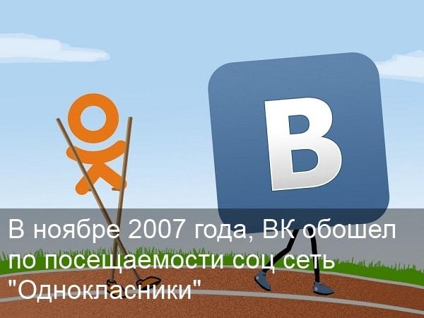 соц сеть вконтакте обошла Одноклассники