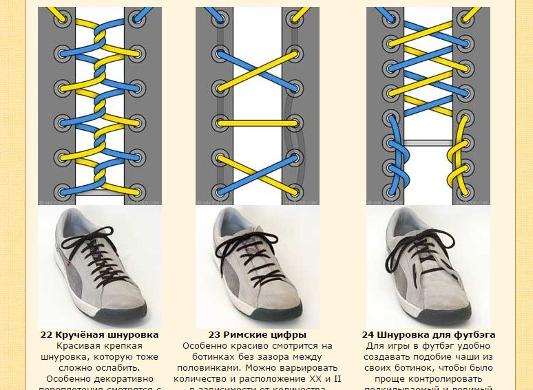 Самые разные способы шнуровки кроссовок. Полезный сайт для тех, кто не хочет быть как все, да и вообще пара трюков с шнуровкой, любому не помешает.
